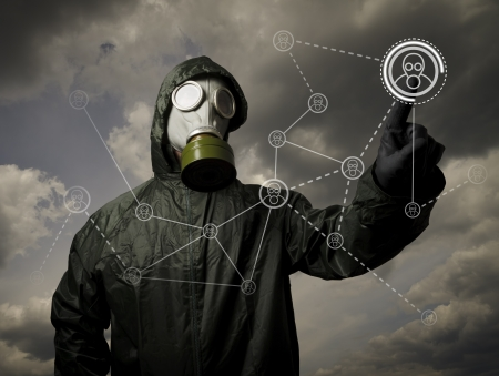 gas mask: Man wearing a gas mask on his face  Social network in the future  Stock Photo