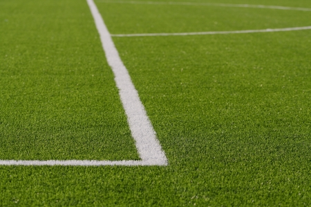 Lines on soccer field green grass photo