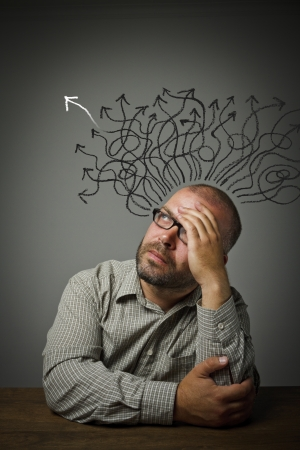 Man in thoughts  Man solving a problem  Hope concept