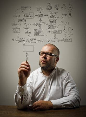 Businessman in white is ready to write something  Strategic plan  photo