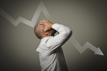 Grief  Expressions, feelings and moods  Man in thoughts  Business depression and recession concept  Stock Photo