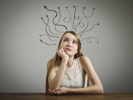 hesitation: Girl in white full of doubts and hesitation  Girl solving a problem