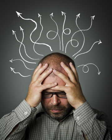 Frustrated  Man solving a problem  Man suffering from inner chaos