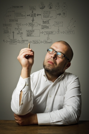 Businessman in white is ready to write something  Strategic plan  Imagens