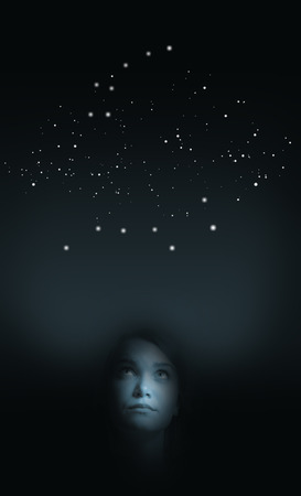dipper: Girl in white and Big Dipper is above her head. Constellation concept. Stock Photo