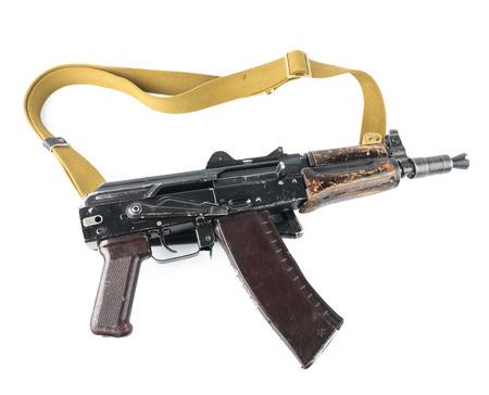 blowpipe: Kalashnikov machinegun. Safety lever position semi-auto mode. Stock Photo