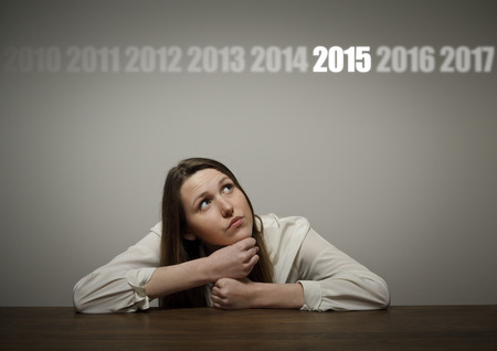fifteen: Thinking. The concept of the year two thousand and fifteen. Stock Photo