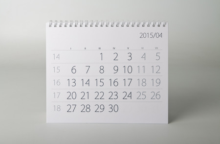 fifteen: April. Calendar sheet. Two thousand fifteen year calendar. Stock Photo