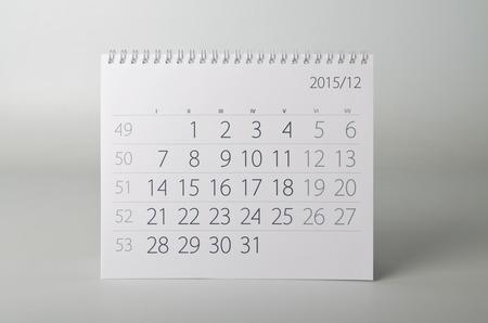 fifteen: December. Calendar sheet. Two thousand fifteen year calendar.