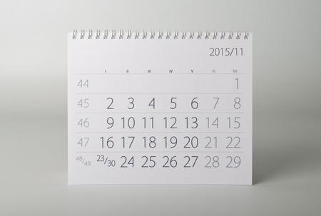 calendario noviembre: Noviembre. Hoja del calendario. Calendario de dos mil quince a�os.