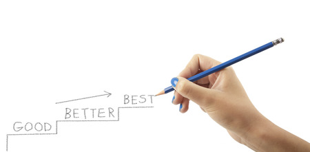 better: Womans hand is writing the words GOOD - BETTER - BEST