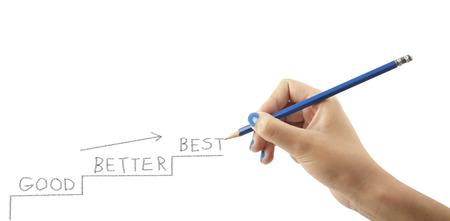 good better best: Womans hand is writing the words GOOD - BETTER - BEST