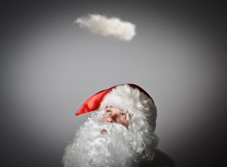 mystique: Santa Claus and white cloud. Imagination concept.