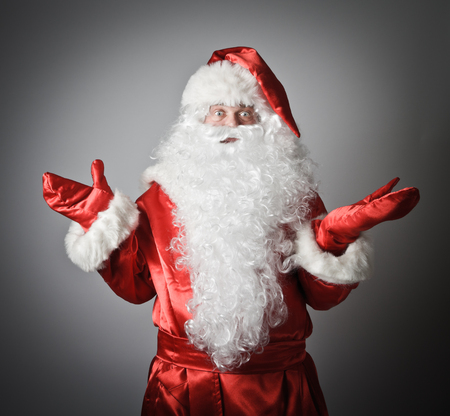 uncertainty: Confusion of a Santa Claus. Uncertainty concept. Stock Photo