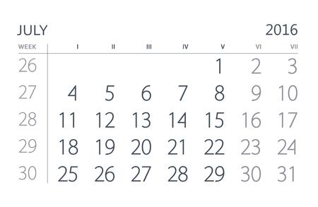 calendario julio: Julio. hoja del calendario. Calendario del a�o dos mil diecis�is a�os. Foto de archivo