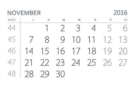 calendario noviembre: Noviembre. hoja del calendario. Calendario del año dos mil dieciséis años.