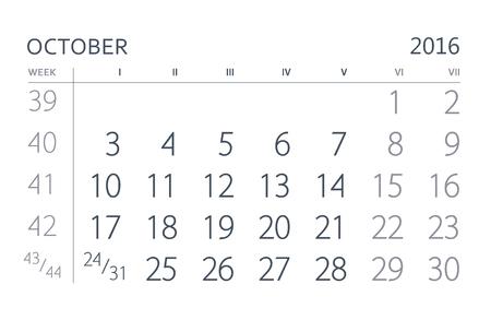 october calendar: Octubre. hoja del calendario. Calendario del año dos mil dieciséis años.