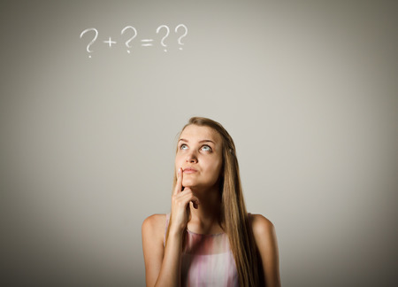 hesitation: Girl is full of doubts and hesitation. Girl and question marks above her head. Young woman is doing something.