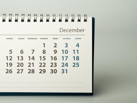 december: December. Calendar sheet. Calendar of the year two thousand sixteen. Stock Photo