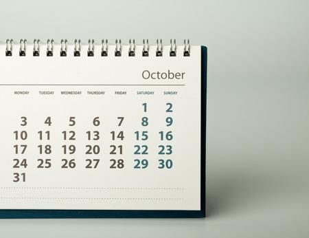 calendario octubre: October. Calendar sheet. Calendar of the year two thousand sixteen. Foto de archivo
