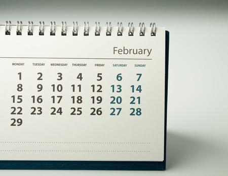 February. Calendar sheet. Calendar of the year two thousand sixteen.