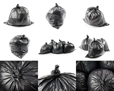 heap: Collage of black garbage bags isolated on white background Stock Photo