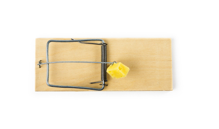 annihilate: Mousetrap with cheese isolated on white background Stock Photo