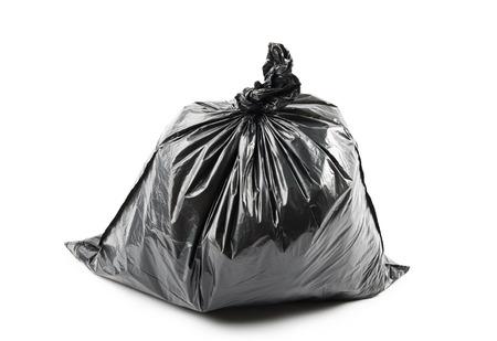 garbage bag: Black garbage bag isolated on white background