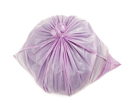 Violet garbage bag isolated on white background