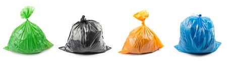 흰색 배경에 고립 된 컬러 쓰레기 봉투 집합. 쓰레기 봉투의 콜라주입니다. 스톡 콘텐츠