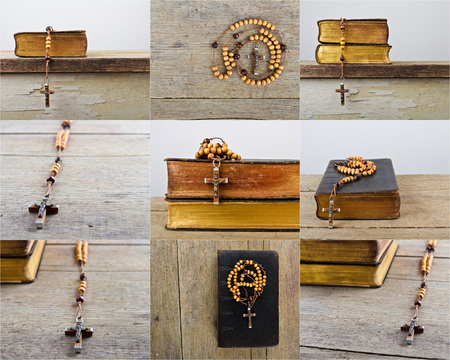 Set of rosary beads and breviary. The book of Catholic Church liturgy and rosary beads on the wooden table