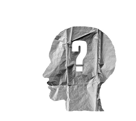 hypocrisy: Crumpled paper shaped as a human head and Question mark on white background. Question concept.