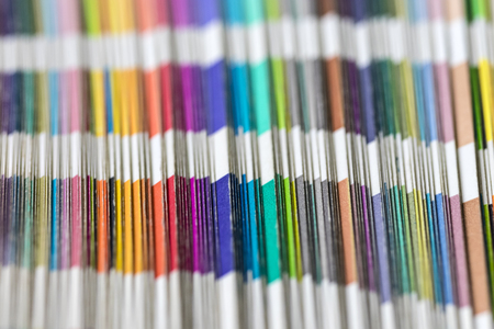 Sampler of colors. Detail of color scale. Old color swatches book