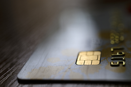 Credit Card Background. Close up view of a Credit card. Macro. Stock Photo