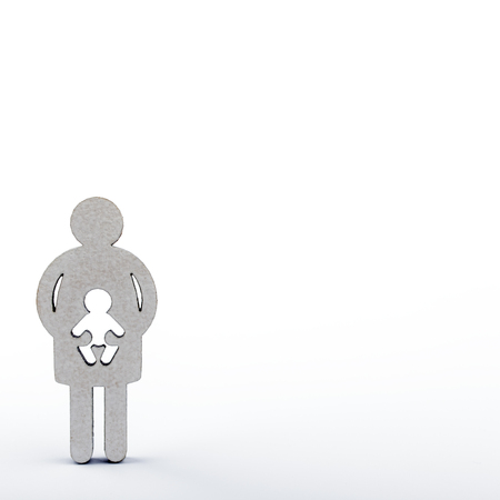 Mother and child. Wooden figures isolated on white background. Pregnancy, abortion or adoption concept.
