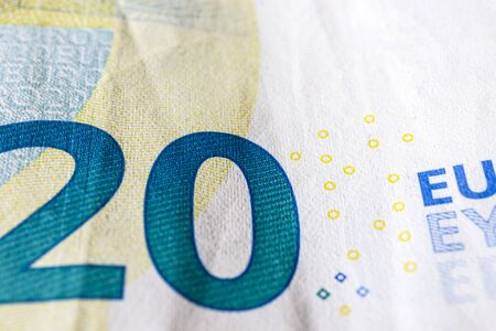 Twenty euro. European currency. Money as background. Macro. 版權商用圖片