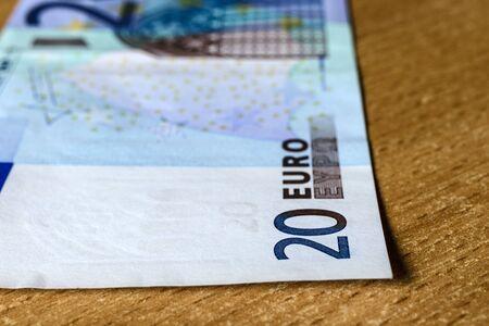 Twenty euro. European currency. Money as background. Macro. Imagens