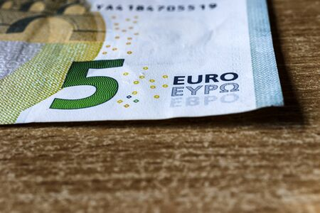 Five euro. European currency. Money as background. Macro.