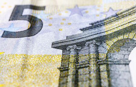 Five euro. European currency. Money as background. Macro.