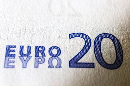 Twenty euro. European currency. Money as background. Macro. Black economy concept.