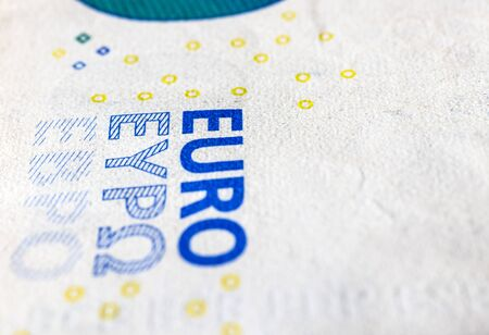 Twenty euro. European currency. Money as background. Macro. Archivio Fotografico