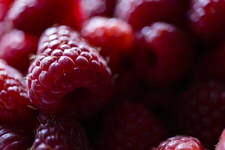 Fresh raspberries in a plate. Natural raspberries. Macro.