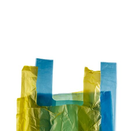 Plastic shopping bags isolated on white background.