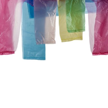 Five plastic shopping bags isolated on bright background. Elements of shopping bags. Handles.