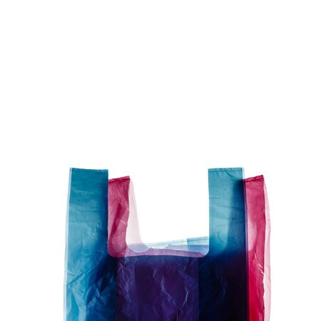 Two plastic shopping bags isolated on white background.