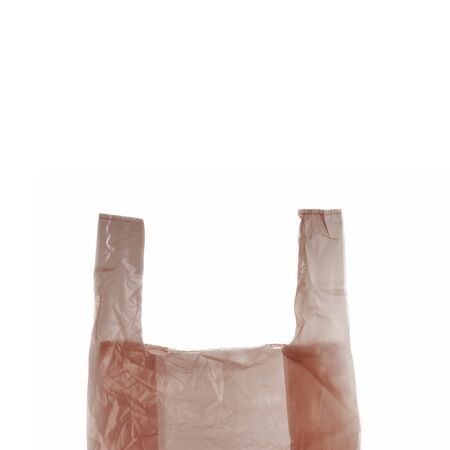 Plastic shopping bag isolated on white background.