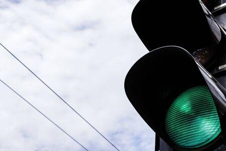 Traffic lights. Green light. Attention concept. Stock Photo