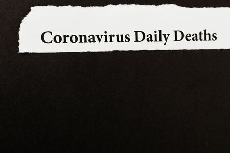 Coronavirus breaking news headline clipping from newspaper. Coronavirus outbreak and COVID-19 crisis concept. Text. Macro view.
