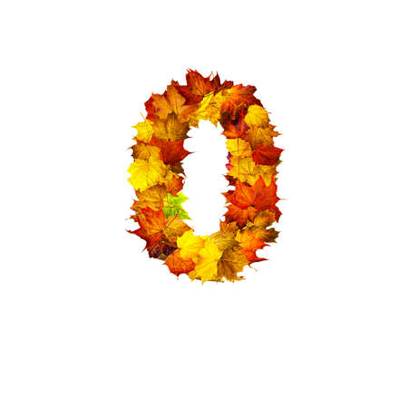 Colorful autumn leaves isolated on white background as number zero. Number zero. Stok Fotoğraf