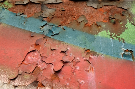 peeled, flaking, scaling paint on rust Reklamní fotografie